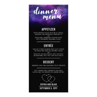 Celestial Galaxy Hearts Stars Wedding Dinner Menu