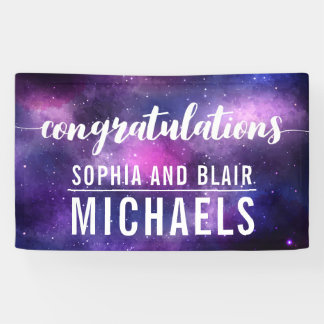 Celestial Galaxy Space Wedding Congratulations Banner