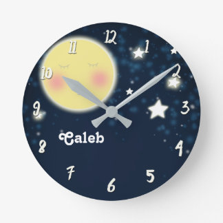 Celestial Glow Moon Nursery Room Personalized Name Round Clock