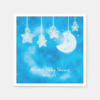 Celestial Glowing Stars & Moon Blue Sky Paper Napkins