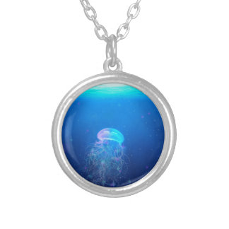 Celestial Jellyfish Silver Plated Necklace