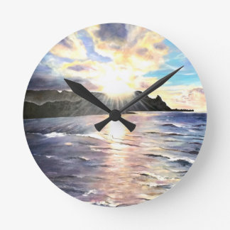 Celestial Light over Bali Hai Greeting Card Round Clock