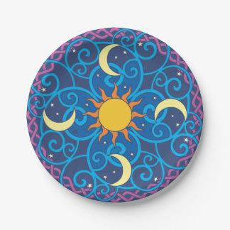 Celestial Mandala Paper Plate 7 Inch Paper Plate