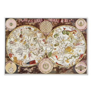 Celestial map from the 17th century poster