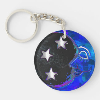 Celestial Momments Bohemian Folk Art KEYRING Double-Sided Round Acrylic Keychain