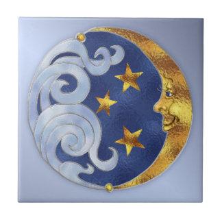 Celestial Moon and Stars Tile