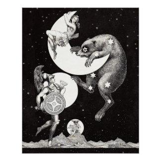 Celestial Moon Goddess Luna Ursa Major and Mars Perfect Poster
