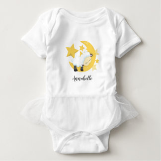 Celestial Moon Stars & Lamb Baby Monogram Tutu Baby Bodysuit