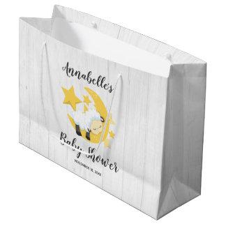Celestial Moon Stars & Lamb Baby Shower Large Gift Bag