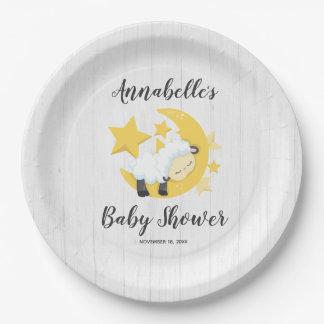 Celestial Moon Stars & Lamb Baby Shower Paper Plate