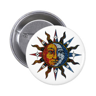 Celestial Mosaic Sun and Moon 2 Inch Round Button