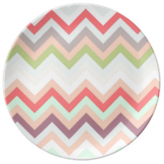Celestial pink Chevron and pies, zigzag Porcelain Plate