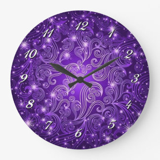 Celestial Purple Swirls & Stars Wall Clock