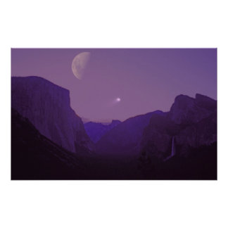 Celestial Sailing poster Yosemite valley dusk Moon