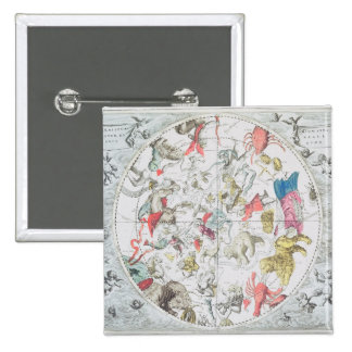 Celestial Showing the Signs of the Zodiac 2 Inch Square Button