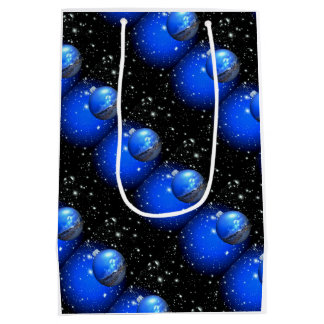 Celestial sky blue/black holiday medium gift bag