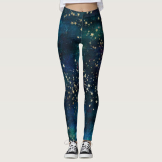 Celestial Sky Gold Stars Leggings