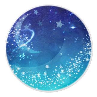 Celestial Sky Moon Sparkle & Stars Watercolor Ceramic Knob