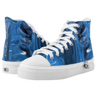 Celestial sphere abstract high tops, blue aqua high tops