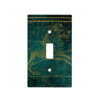 Celestial Star Astrological LEO Lion Gold Green Light Switch Cover