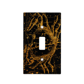 Celestial Star Map Astrological Gold Cancer Crab Light Switch Cover