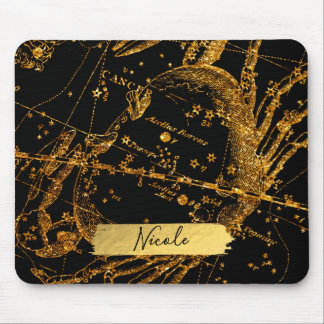 Celestial Star Map Astrological Gold Cancer Crab Mouse Pad