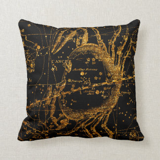 Celestial Star Map Astrological Gold Cancer Crab Throw Pillow