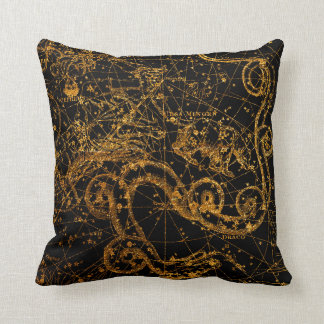 Celestial Star Map Astrological Gold Draco Dragon Throw Pillow