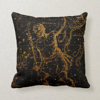 Celestial Star Map Astrological Gold Hercules Throw Pillow