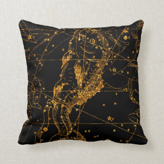 Celestial Star Map Astrological Gold Pisces Fish Throw Pillow