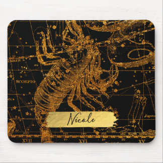 Celestial Star Map Astrological Sign Gold Scorpio Mouse Pad