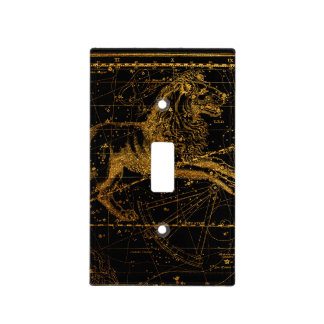 Celestial Star Map Astrological Sign LEO Lion Gold Light Switch Cover