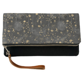 Celestial Starry Night Fold-over Clutch Purse