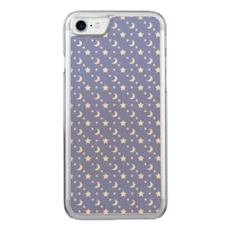Celestial Stars and Moons Pattern on Blue Carved iPhone 8/7 Case