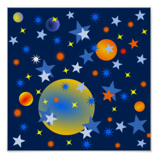 Celestial Stars and Planets Poster