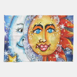 Celestial Sun and Moon Design Kitchen Towel