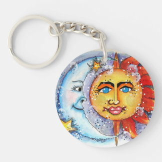 Celestial Sun and Moon Key Chain