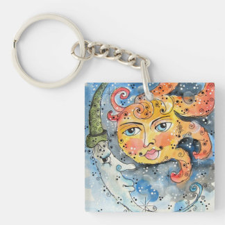 Celestial Sun and Moon Key Chain