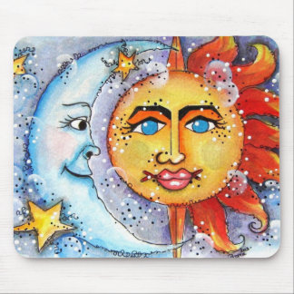 Celestial Sun and Moon Mouse Pad