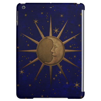 Celestial Sun Moon Brass Bas Relief Graphic Case For iPad Air