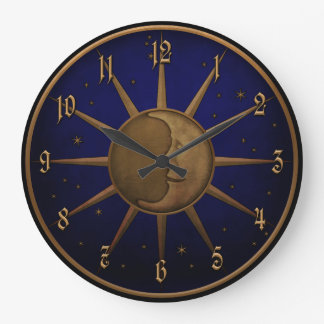 Celestial Sun Moon Brass Bas Relief Graphic Large Clock