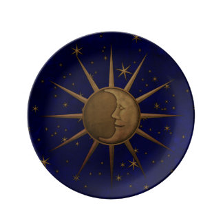 Celestial Sun Moon Brass Bas Relief Graphic Plate