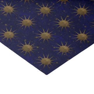 Celestial Sun Moon Brass Bas Relief Graphic Tissue Paper