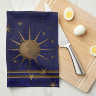 Celestial Sun Moon Starry Night Kitchen Towel