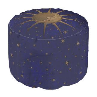Celestial Sun Moon Starry Night Pouf