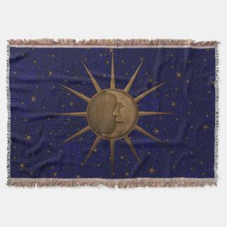 Celestial Sun Moon Starry Night Throw Blanket