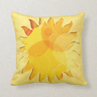 Celestial Sunshine Yellow Abstract Throw Pillow
