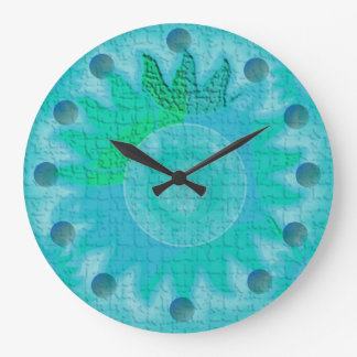 Celestial Teal Sun Large Clock