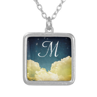 Celestial View Stars and Clouds Monogram Necklace