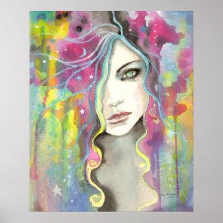 Celestial Vision Girl in the Stars Pop Fantasy Art Poster